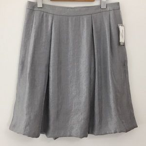 Nine West Metallic Silver Pleated Skirt